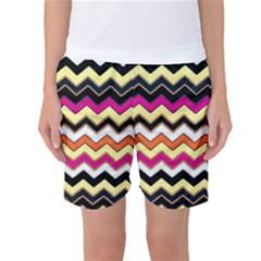 Colorful Chevron Pattern Stripes Women s Basketball Shorts