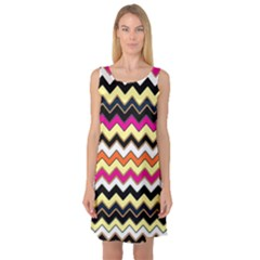 Colorful Chevron Pattern Stripes Sleeveless Satin Nightdress