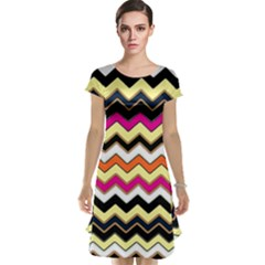 Colorful Chevron Pattern Stripes Cap Sleeve Nightdress