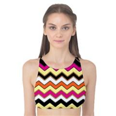 Colorful Chevron Pattern Stripes Tank Bikini Top