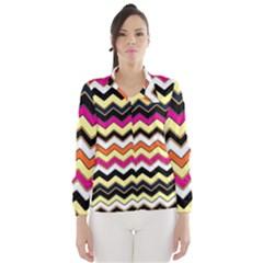 Colorful Chevron Pattern Stripes Wind Breaker (women)