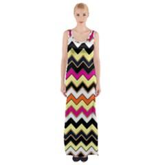 Colorful Chevron Pattern Stripes Maxi Thigh Split Dress