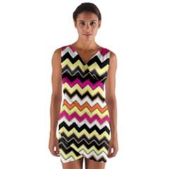 Colorful Chevron Pattern Stripes Wrap Front Bodycon Dress