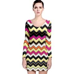 Colorful Chevron Pattern Stripes Long Sleeve Velvet Bodycon Dress