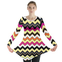 Colorful Chevron Pattern Stripes Long Sleeve Tunic
