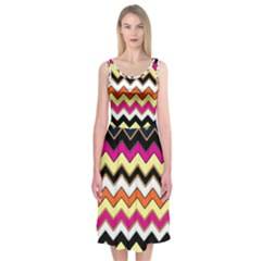 Colorful Chevron Pattern Stripes Midi Sleeveless Dress
