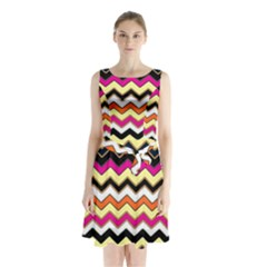 Colorful Chevron Pattern Stripes Sleeveless Chiffon Waist Tie Dress