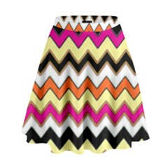 Colorful Chevron Pattern Stripes High Waist Skirt