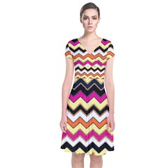 Colorful Chevron Pattern Stripes Short Sleeve Front Wrap Dress