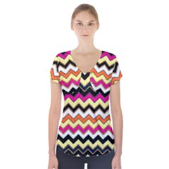 Colorful Chevron Pattern Stripes Short Sleeve Front Detail Top