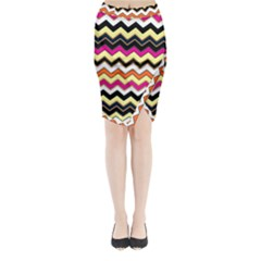 Colorful Chevron Pattern Stripes Midi Wrap Pencil Skirt