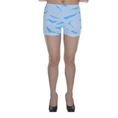 Blue Tiger Animal Pattern Digital Skinny Shorts