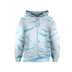 Blue Tiger Animal Pattern Digital Kids  Zipper Hoodie