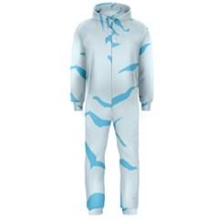 Blue Tiger Animal Pattern Digital Hooded Jumpsuit (Men)