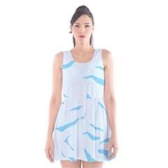 Blue Tiger Animal Pattern Digital Scoop Neck Skater Dress