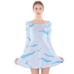 Blue Tiger Animal Pattern Digital Long Sleeve Velvet Skater Dress