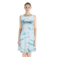 Blue Tiger Animal Pattern Digital Sleeveless Chiffon Waist Tie Dress