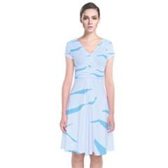 Blue Tiger Animal Pattern Digital Short Sleeve Front Wrap Dress