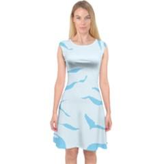 Blue Tiger Animal Pattern Digital Capsleeve Midi Dress