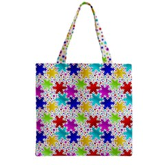Snowflake Pattern Repeated Grocery Tote Bag