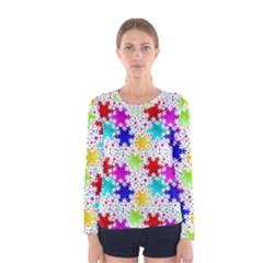 Snowflake Pattern Repeated Women s Long Sleeve Tee