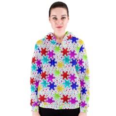 Snowflake Pattern Repeated Women s Zipper Hoodie