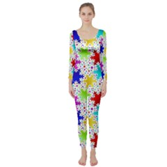 Snowflake Pattern Repeated Long Sleeve Catsuit