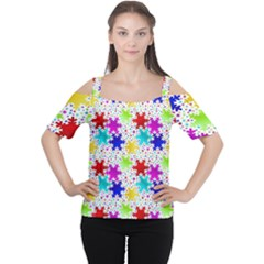 Snowflake Pattern Repeated Women s Cutout Shoulder Tee