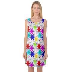 Snowflake Pattern Repeated Sleeveless Satin Nightdress