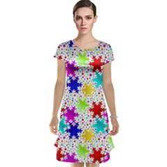 Snowflake Pattern Repeated Cap Sleeve Nightdress