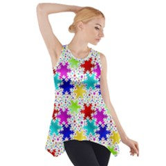 Snowflake Pattern Repeated Side Drop Tank Tunic