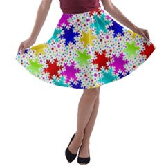 Snowflake Pattern Repeated A Line Skater Skirt
