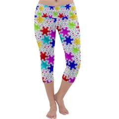 Snowflake Pattern Repeated Capri Yoga Leggings