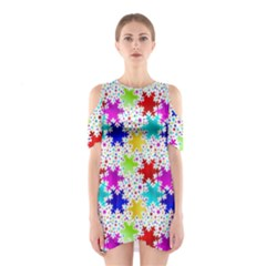 Snowflake Pattern Repeated Shoulder Cutout One Piece
