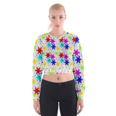 Snowflake Pattern Repeated Women s Cropped Sweatshirt