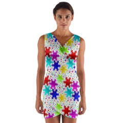 Snowflake Pattern Repeated Wrap Front Bodycon Dress
