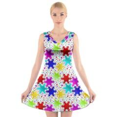 Snowflake Pattern Repeated V Neck Sleeveless Skater Dress