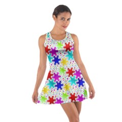 Snowflake Pattern Repeated Cotton Racerback Dress