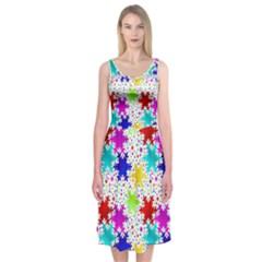 Snowflake Pattern Repeated Midi Sleeveless Dress