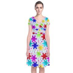 Snowflake Pattern Repeated Short Sleeve Front Wrap Dress