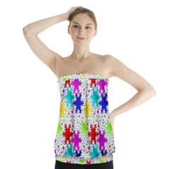 Snowflake Pattern Repeated Strapless Top