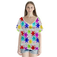 Snowflake Pattern Repeated Flutter Sleeve Top