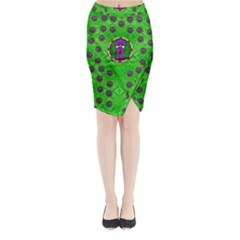 Smoking Hot Cartoon Lady Midi Wrap Pencil Skirt
