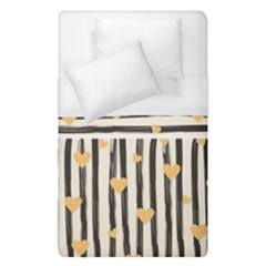 Black Lines And Golden Hearts Pattern Duvet Cover (single Size)