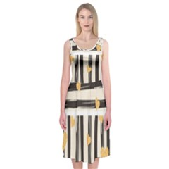Black Lines And Golden Hearts Pattern Midi Sleeveless Dress