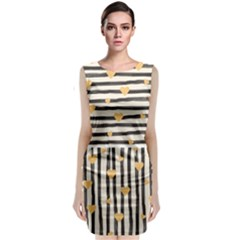 Black Lines And Golden Hearts Pattern Classic Sleeveless Midi Dress
