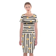 Black Lines And Golden Hearts Pattern Classic Short Sleeve Midi Dress