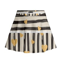 Black Lines And Golden Hearts Pattern Mini Flare Skirt