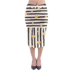 Black Lines And Golden Hearts Pattern Midi Pencil Skirt