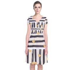 Black Lines And Golden Hearts Pattern Short Sleeve Front Wrap Dress